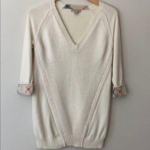 Burberry Casmhere V-Neck  Nova Plaid Sweater White